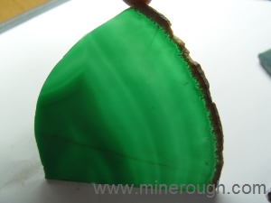 green dyed banded agate sliced rough