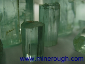 Aquamarine rough crystal in transmitted light