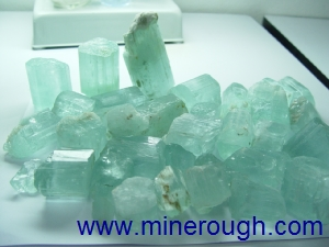 Aquamarine milky rough crystals