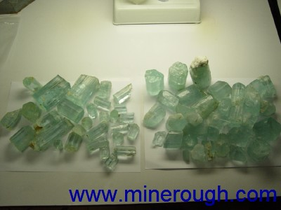 Aquamarine rough gemstones, clear material and milky material